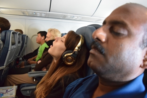 my isle mates: an Indian airplane company employee and a lingerie model. Most conversation I've ever had during a flight..but they were both sleeping here.