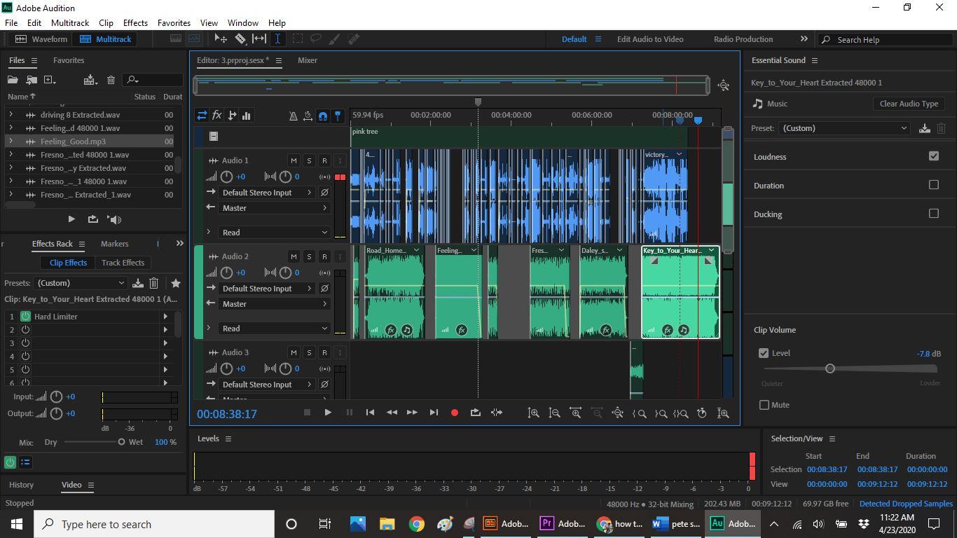 editing screen